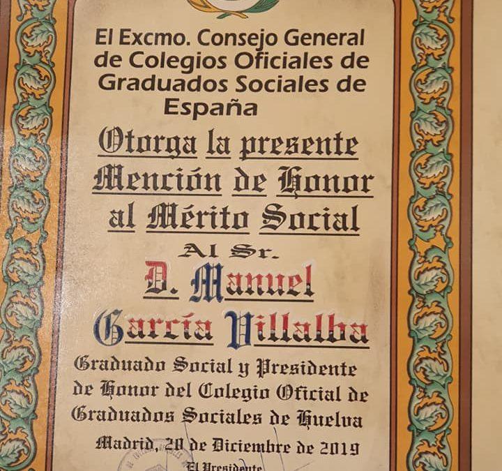 Manuel García Villalba, Mención de Honor al Mérito Social